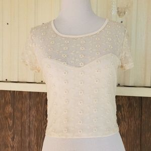 Pins and needles crop top ivory lace size M